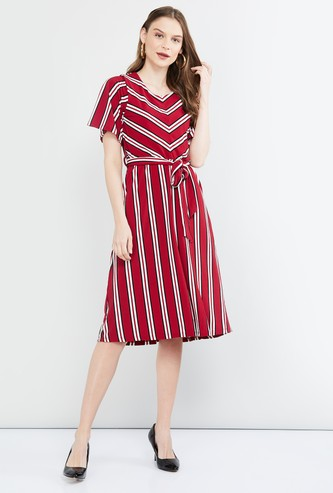 MAX Striped Fit & Flare Dress with Sash Tie-Up