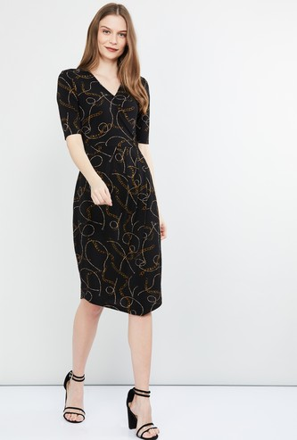 MAX Printed Short Sleeves Bodycon Dress