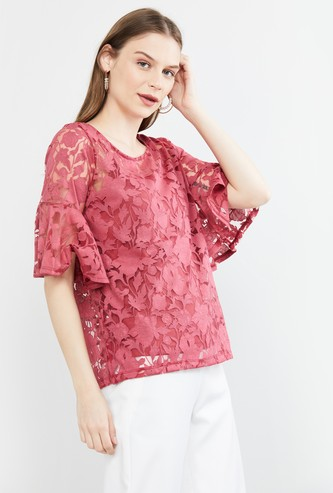 MAX Lace Detail Short Sleeves Top