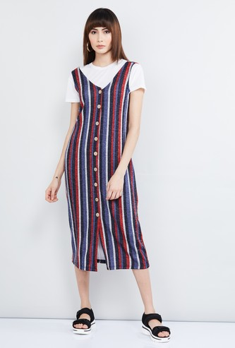 MAX Striped Sleeveless V-neck Midi Dress