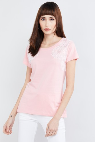 MAX Lace Detail Cap Sleeves T-shirt