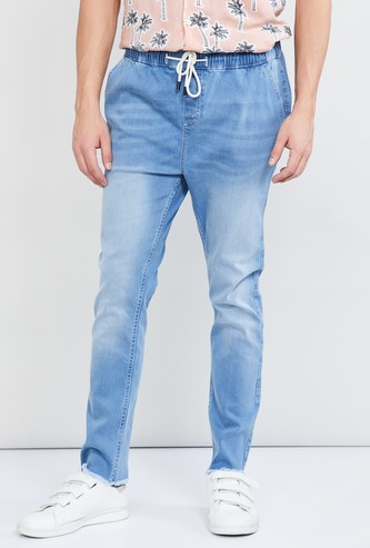 MAX Stonewashed Elasticated Carrot Fit Jeans