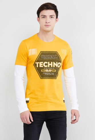 MAX Typographic Print Full Sleeves Crew Neck T-shirt