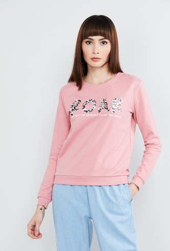 MAX Typographic Print Full Sleeves Sweatshirt