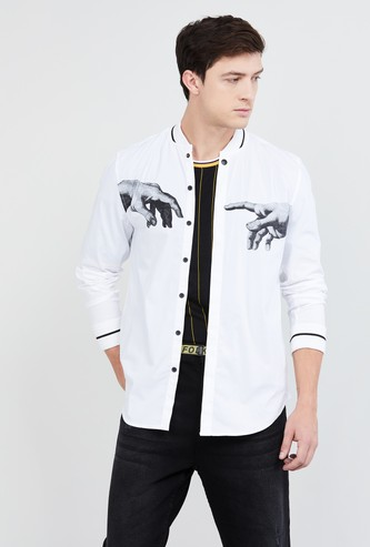 MAX Printed Band Collar Casual Shirt