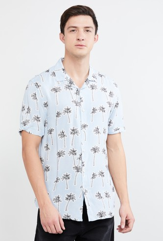MAX Tropical Print Short Sleeves Slim Shirt