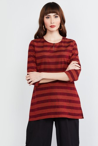 MAX Striped Key-Hole Neck Kurti