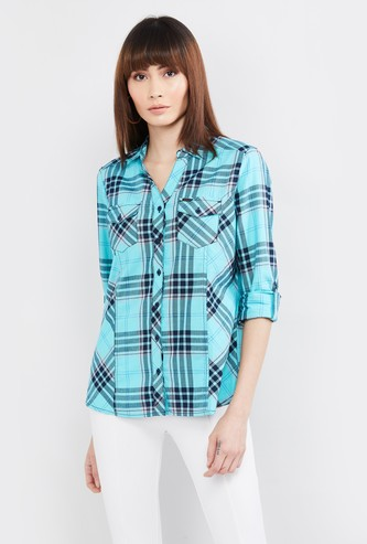 MAX Checked Three-Quarter Sleeves Shirt