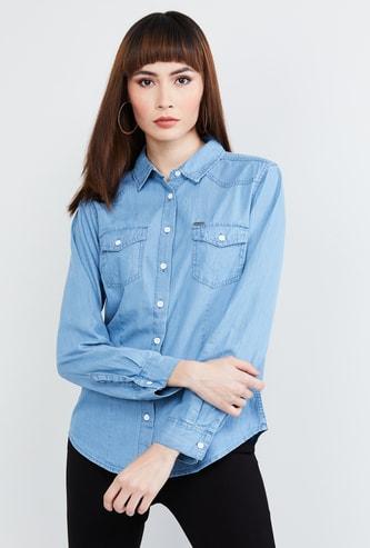 MAX Solid Regular Fit Denim Shirt