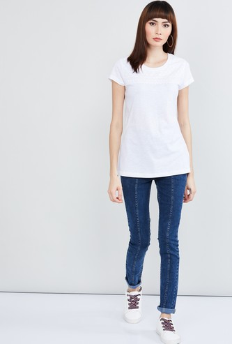 MAX Lace Detailed Round Neck Top