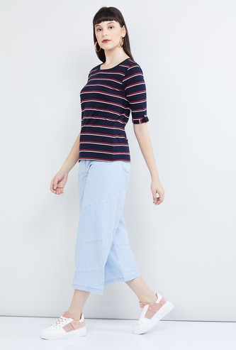 MAX Roll-Up Sleeves Striped T-shirt