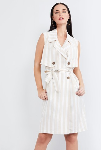 MAX Striped Sleeveless Wrap-Around Dress with Notched Lapel