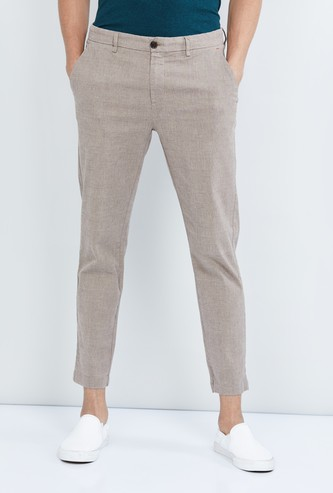 MAX Textured Carrot Fit Cropped Chinos