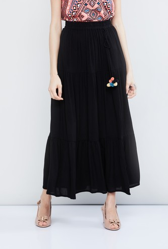 MAX Solid Maxi Skirt with Tie-Up Detail