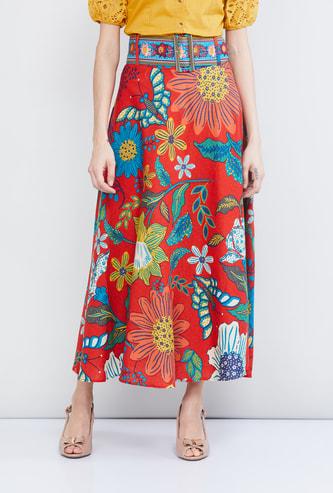 MAX Floral Print Midi Skirt
