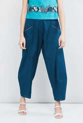 MAX Solid Woven Cropped Dhoti Pants