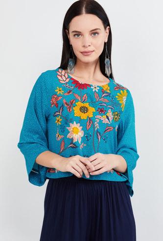 MAX Floral Print Three-quarter Sleeves Top
