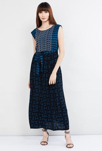 MAX Printed Maxi Dress with Belt