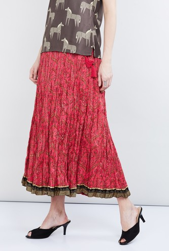 MAX Printed Crinkled Skirt