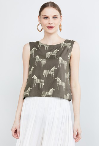 MAX Printed Sleeveless Crop Top
