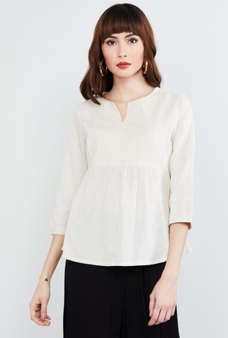 MAX Striped Notched Neck Top
