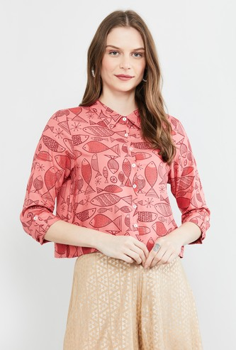 MAX Roll-Up Sleeves Printed Top