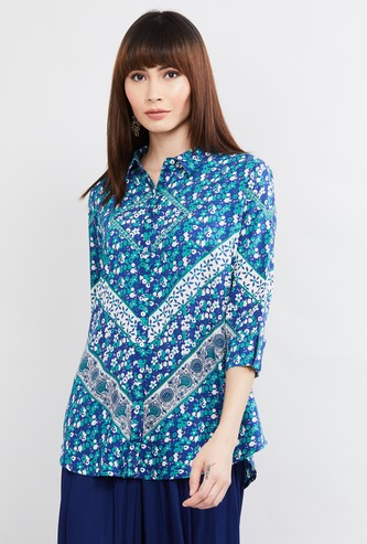 MAX Floral Print Three-quarter Sleeves Shirt