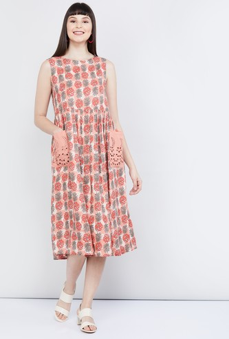 MAX Pineapple Print Sleeveless Midi Dress