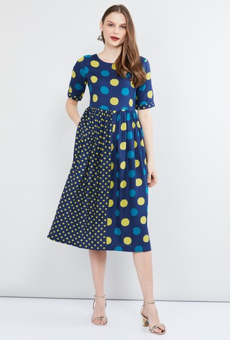 MAX Printed Dress with Gathered Detailing