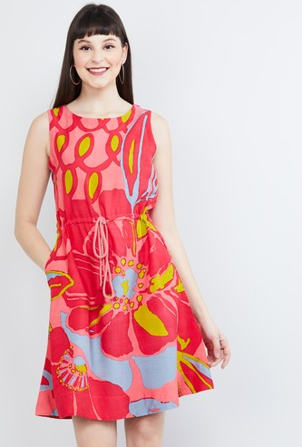 MAX Printed Sleeveless A-line Dress