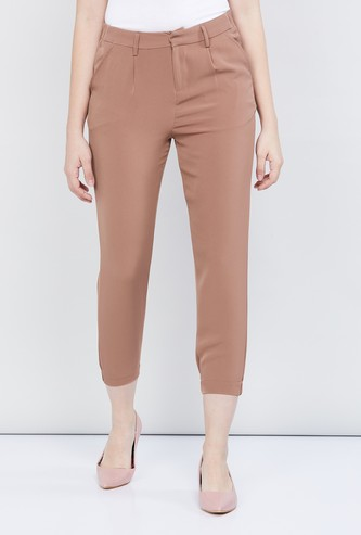MAX Solid Woven Cropped Trousers