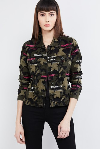 MAX Printed Buttoned Denim Jacket