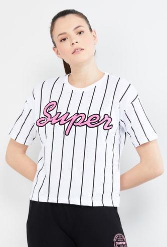 MAX Typographic Print Striped Drop-Shoulder T-shirt