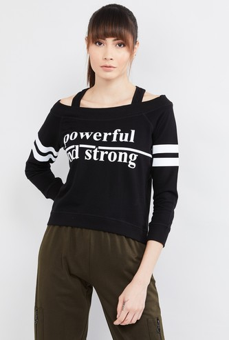 MAX Typographic Print Cold-Shoulder Sweatshirt