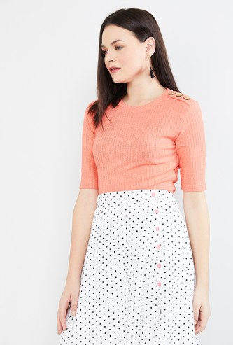 MAX Ribbed Round-Neck Top