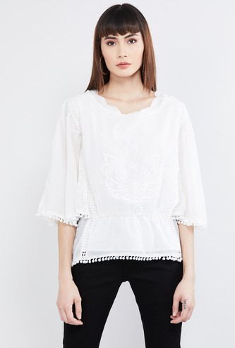 MAX Embroidered Tunic with Bobble Trim