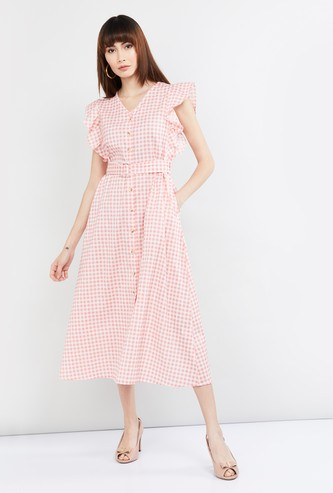 MAX Checked Midi Dress