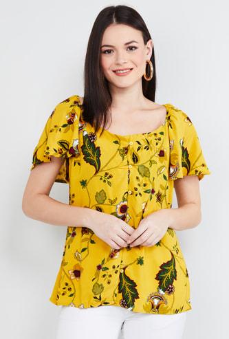 MAX Polka Dot Print Flutter Sleeves Top