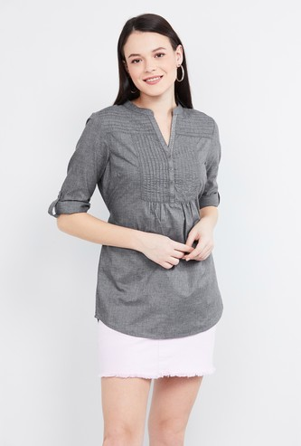 MAX Solid Three-quarter Sleeves Tunic