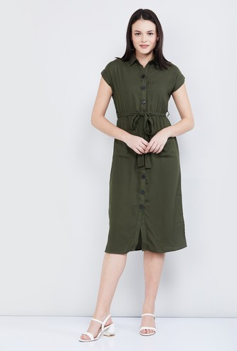 MAX Solid Shirt Dress