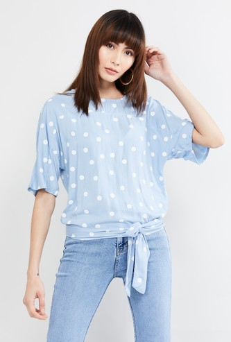 MAX Polka Dots Print Top with Tie-Up Detail