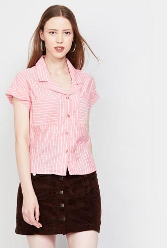 MAX Striped Notched Lapel Shirt