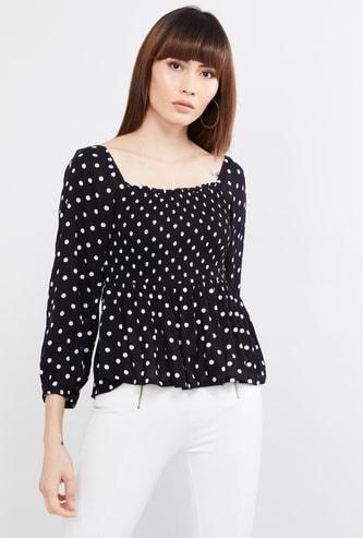 MAX Polka Dot Print Full Sleeves Top