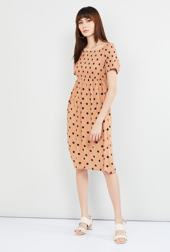 MAX Polka Dot Print Milkmaid Dress