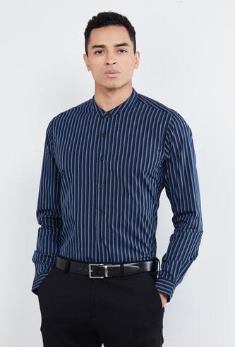 MAX Striped Band Collar Slim Fit Formal Shirt