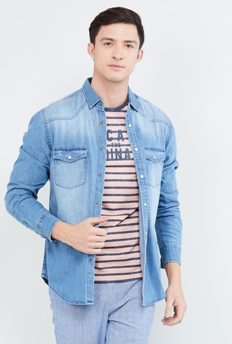 MAX Stonewashed Slim Fit Denim Shirt