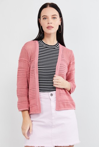 MAX Solid Knitted Open-Front Shrug