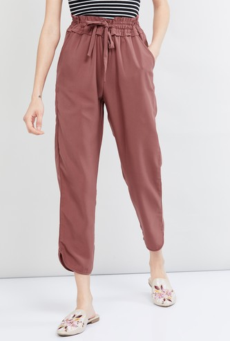 MAX Solid Elasticated Paperbag Waist Trousers