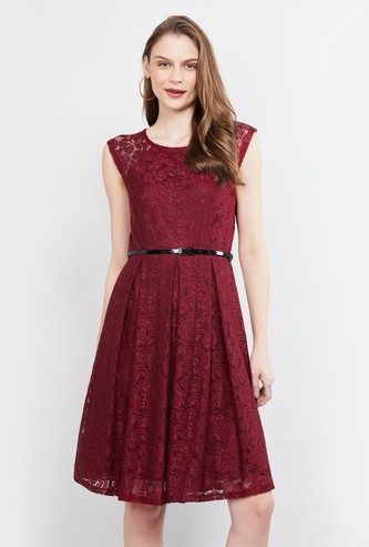 MAX Sleeveless Lace Fit & Flare Dress