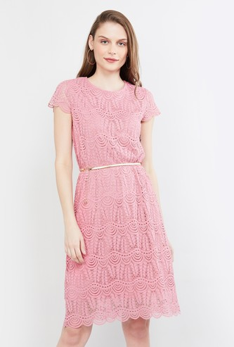 MAX Lace Detail Cap Sleeves A-line Dress